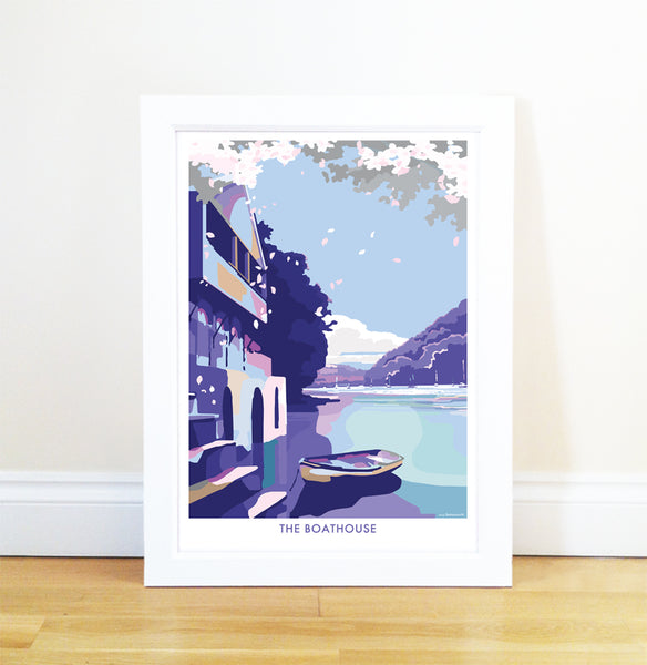 Boathouse travel poster and seaside print by Becky Bettesworth