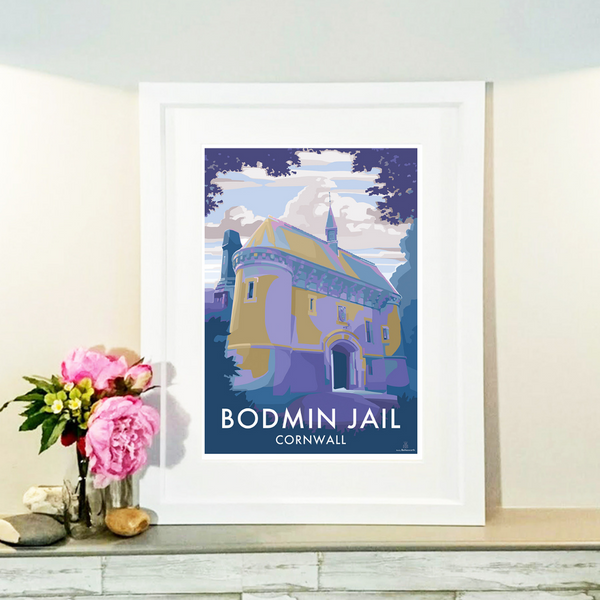 Bodmin Jail Travel Poster and Seaside print by Becky Bettesworth