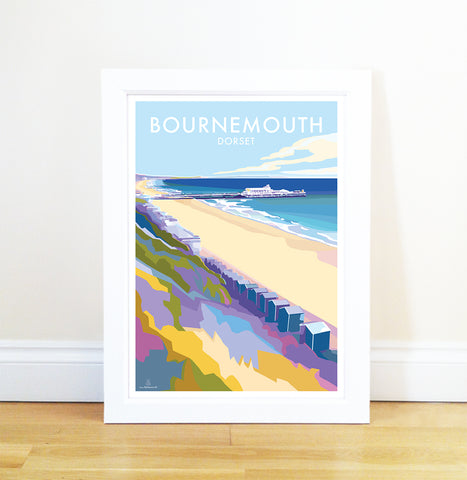 Bournemouth - Travel Poster and Seaside Print by Becky Bettesworth