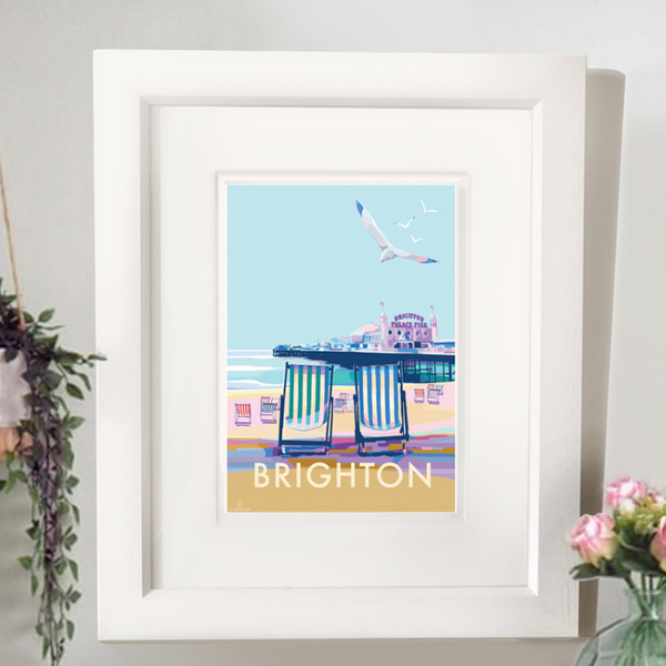Brighton travel poster and seaside print by Becky Bettesworth