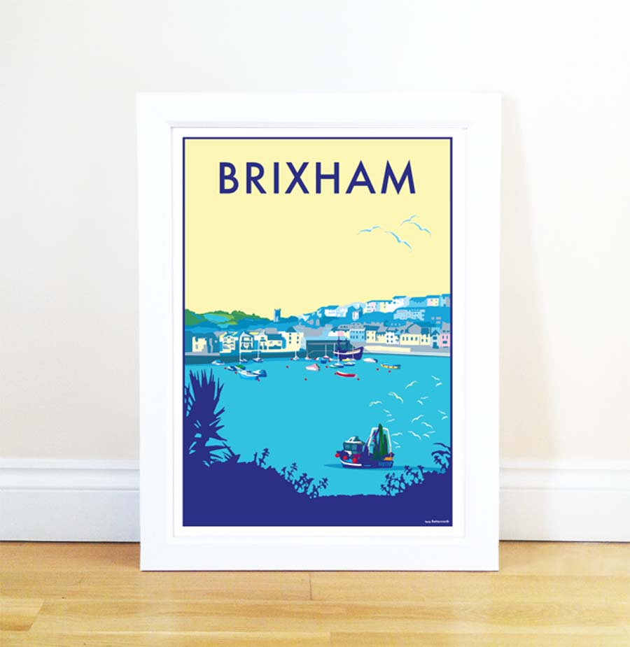 Brixham travel poster and seaside print by Becky Bettesworth