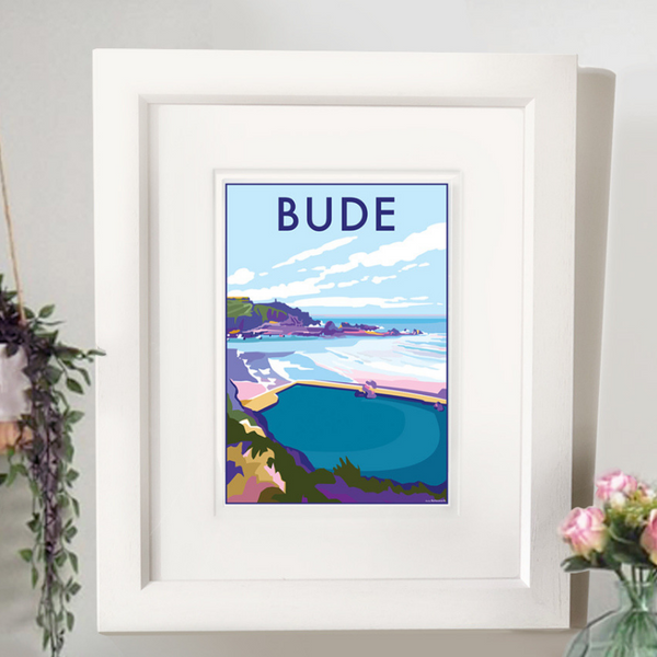 Bude travel poster and seaside print by Becky Bettesworth