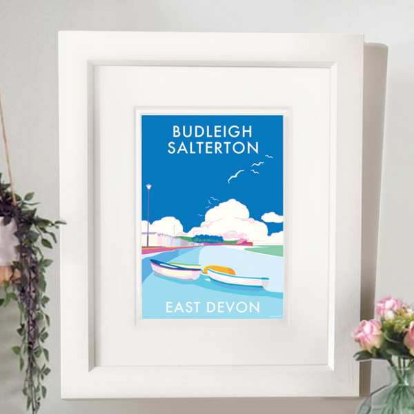 Budleigh Salterton travel poster and seaside print by Becky Bettesworth