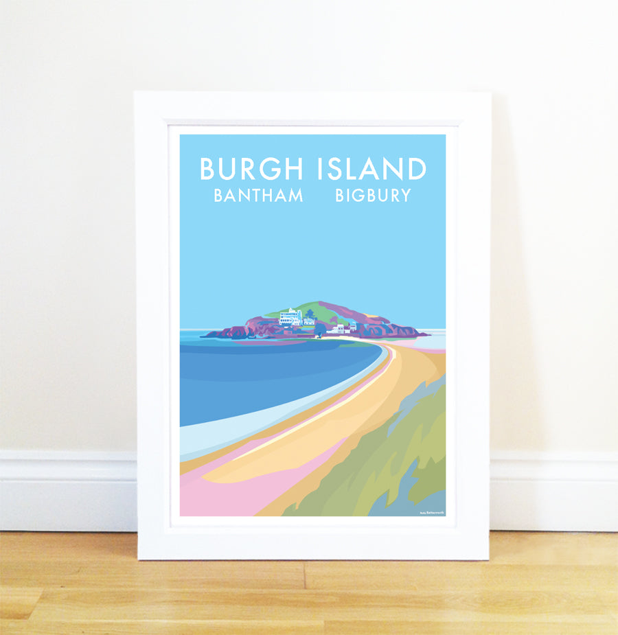 Burgh Island travel poster and seaside print by Becky Bettesworth