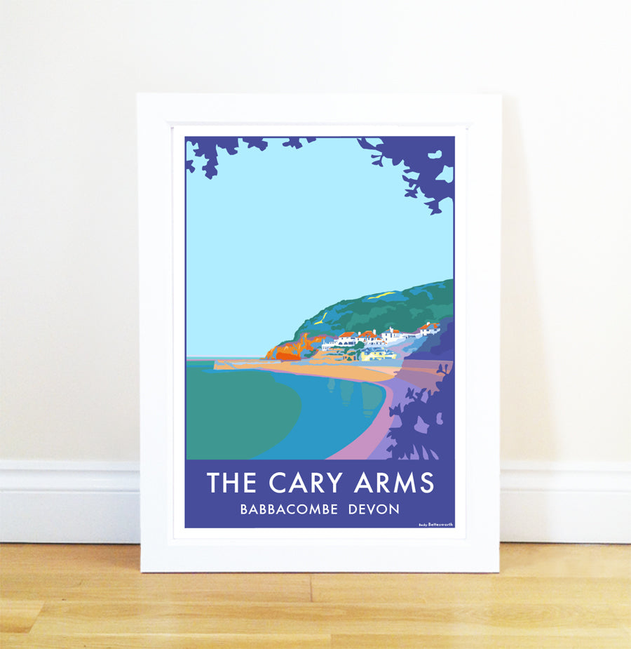 The Cary Arms travel poster and seaside print by Becky Bettesworth