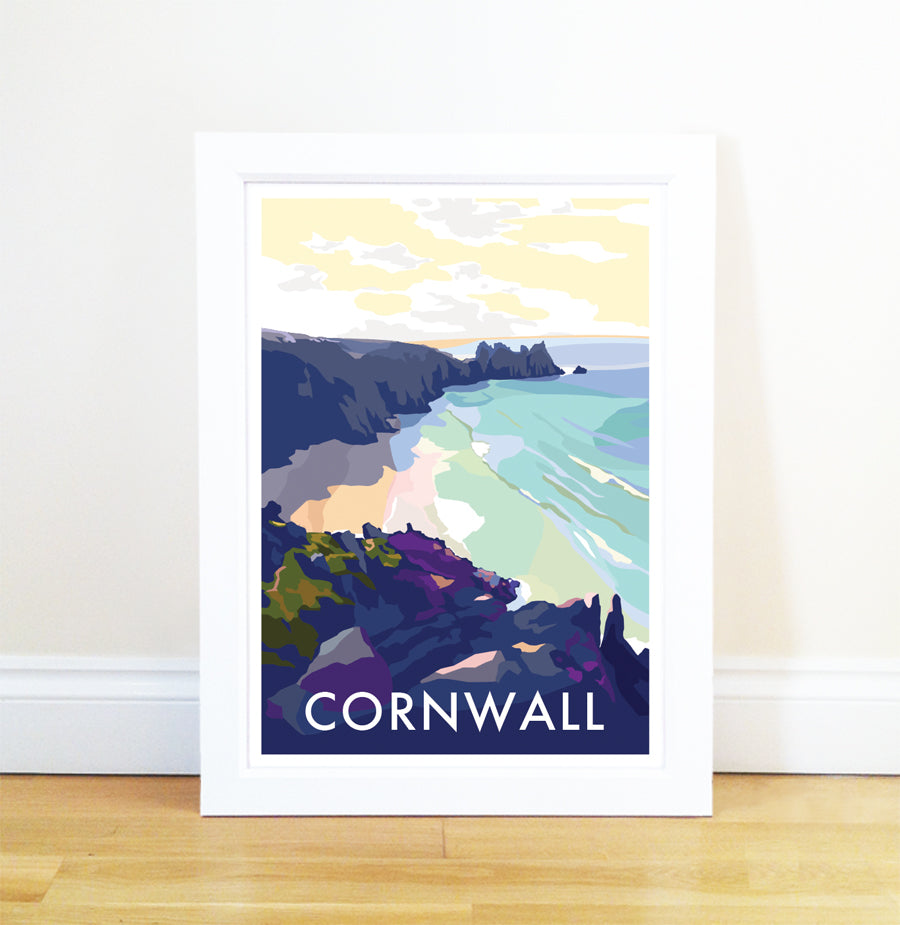 Cornwall Beach travel poster and seaside print by Becky Bettesworth