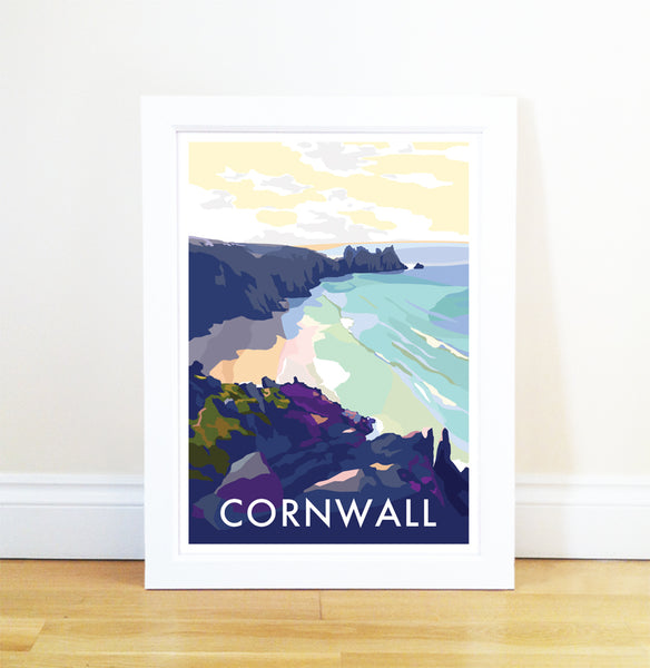 Cornwall (Beach) travel poster and seaside print by Becky Bettesworth