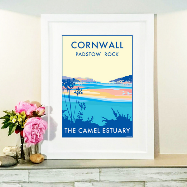 Cornwall Camel Estuary travel poster and seaside print by Becky Bettesworth