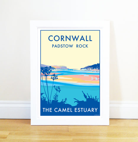 Cornwall (Camel Estuary) travel poster and seaside print by Becky Bettesworth