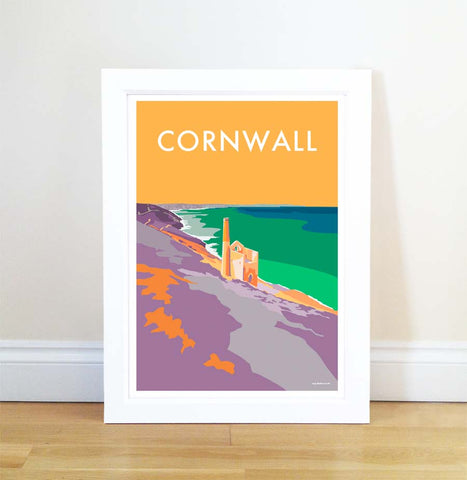 Cornwall (Tin Mines) travel poster and seaside print by Becky Bettesworth