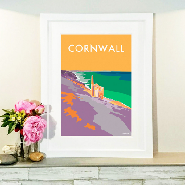 Cornwall Tin Mines travel poster and seaside print by Becky Bettesworth