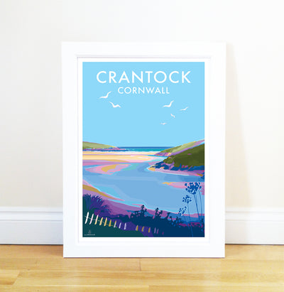 Crantock - Vintage Style Travel Poster and Seaside print by Becky Bettesworth