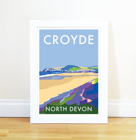 Croyde travel poster and seaside print by Becky Bettesworth