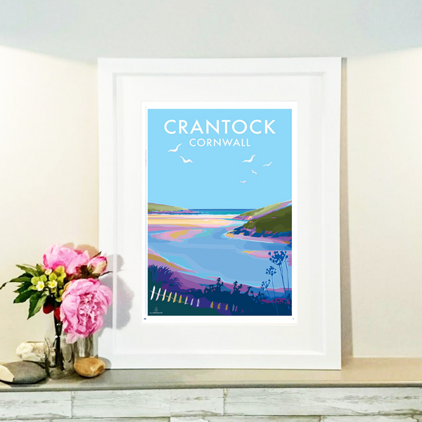 Crantock Vintage Style Travel Poster and Seaside print by Becky Bettesworth