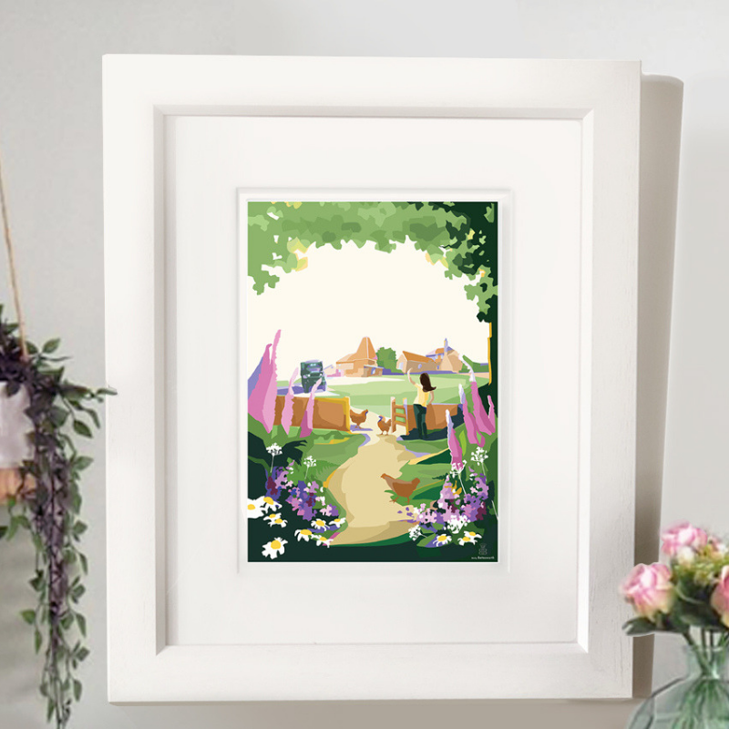 The Darling Buds of May A4 seaside print by Becky Bettesworth