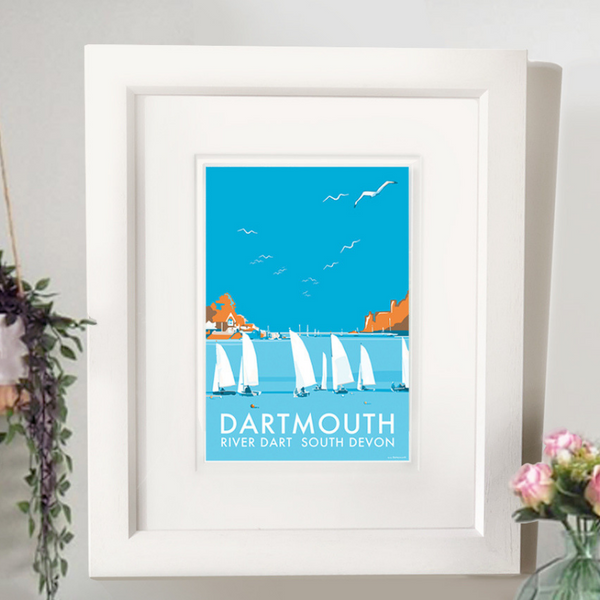 Dartmouth Festival travel poster and seaside print by Becky Bettesworth