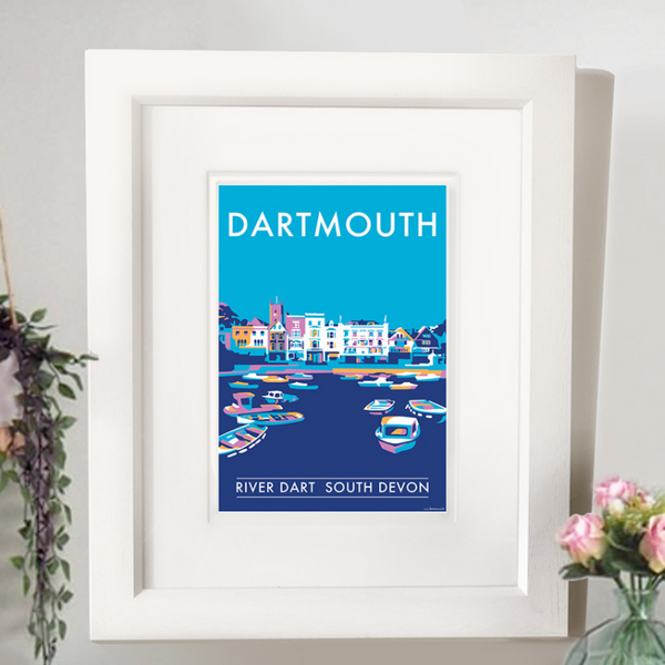 Dartmouth Harbour travel poster and seaside print by Becky Bettesworth
