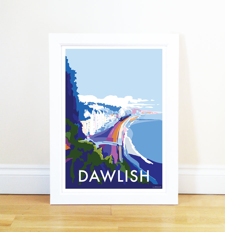 Dawlish travel poster and seaside print by Becky Bettesworth