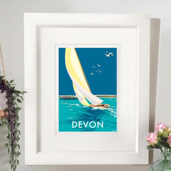 Devon Sailing Boat travel poster and seaside print by Becky Bettesworth