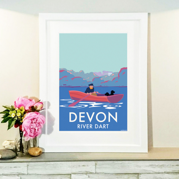 Devon River Dart (Fishing Boat) travel poster and seaside print by Becky Bettesworth