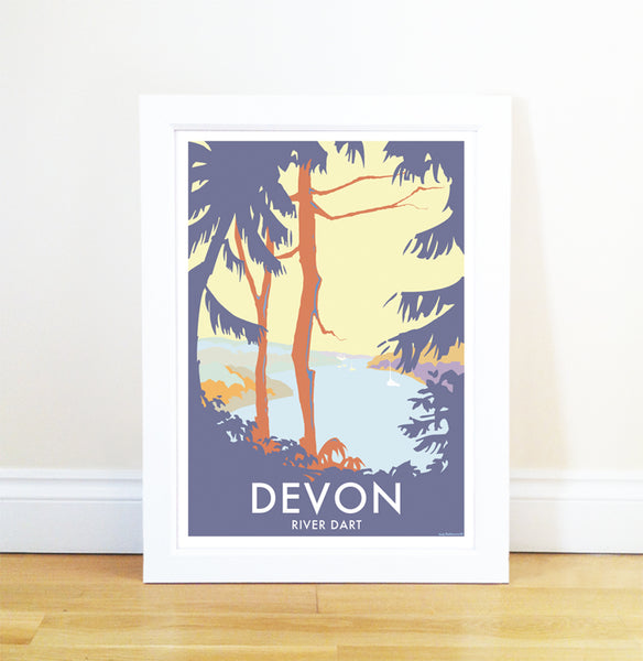 Devon River Dart (Trees) travel poster and seaside print by Becky Bettesworth