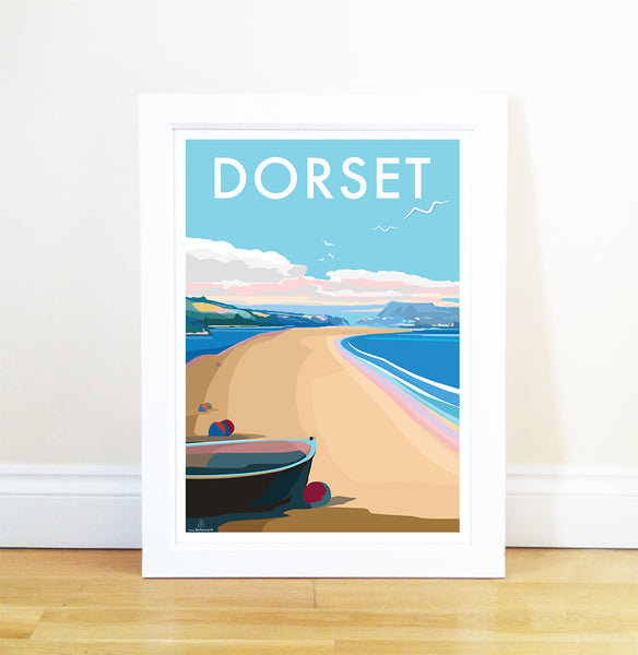 Dorset travel poster and seaside print by Becky Bettesworth