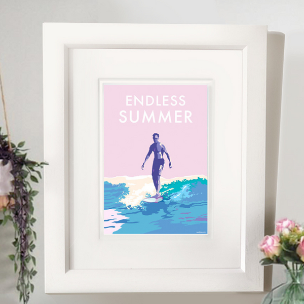 Endless Summer vintage style retro quote poster by Becky Bettesworth