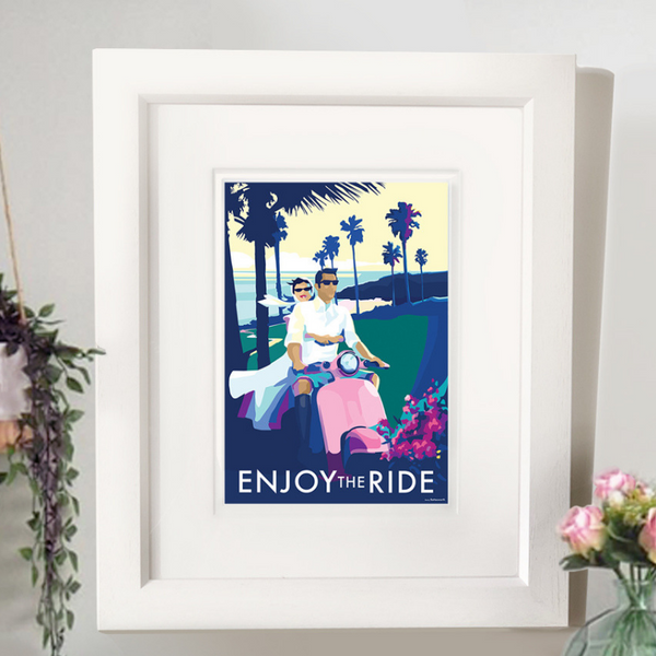 Enjoy the Ride vintage style retro quote poster by Becky Bettesworth