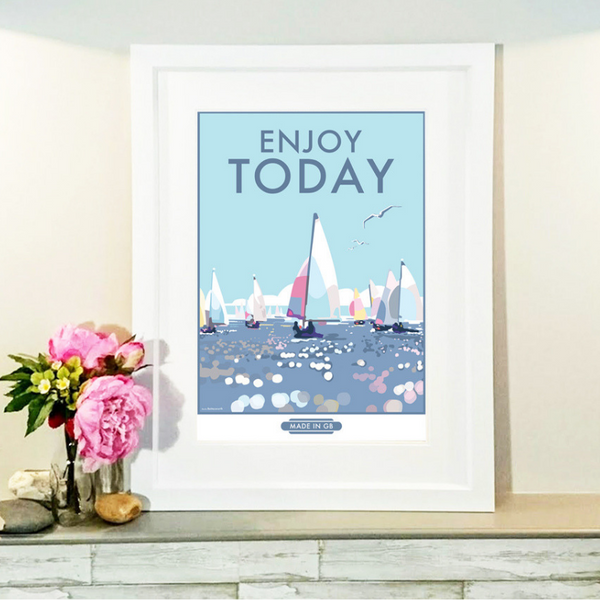 Enjoy Today vintage style retro quote poster by Becky Bettesworth
