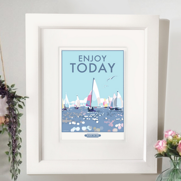Enjoy Today vintage style, retro quote poster and print by Becky Bettesworth