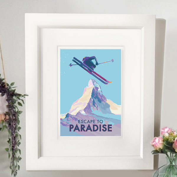 Escape to Paradise skiing vintage style retro quote poster by Becky Bettesworth