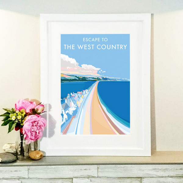 Escape to the West Country travel poster and seaside print by Becky Bettesworth