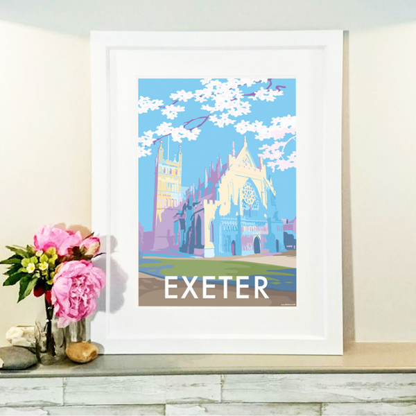 Exeter travel poster and seaside print by Becky Bettesworth