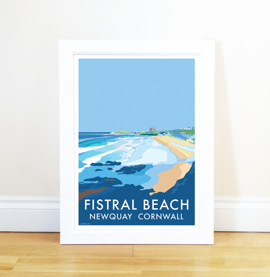 Fistral Newquay travel poster and seaside print by Becky Bettesworth - BeckyBettesworth - 1