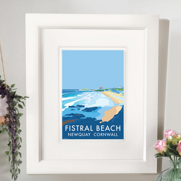 Fistral Newquay travel poster and seaside print by Becky Bettesworth
