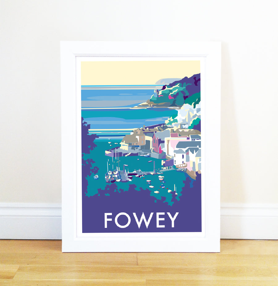 Fowey travel poster and seaside print by Becky Bettesworth