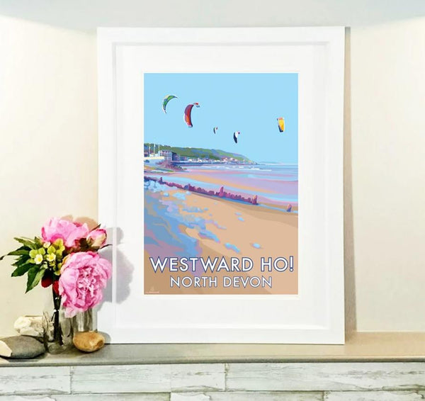 Westward Ho! travel poster and seaside print by Becky Bettesworth