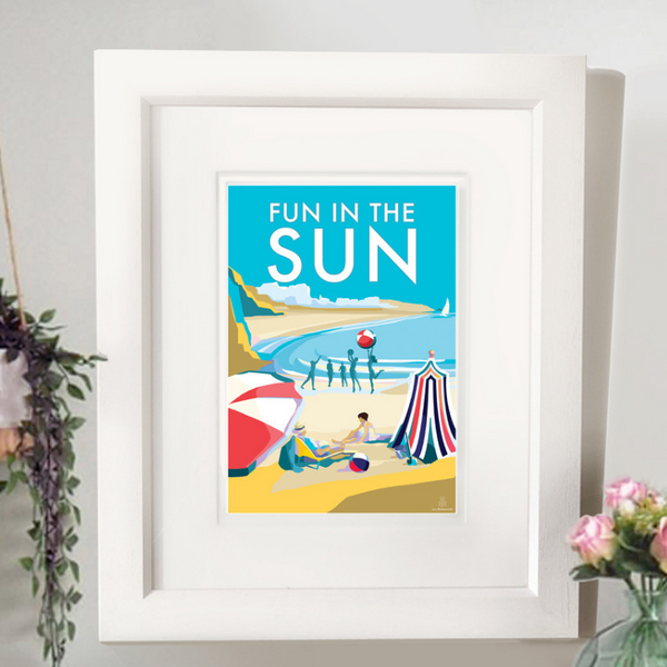 Fun in the Sun vintage style retro quote poster by Becky Bettesworth