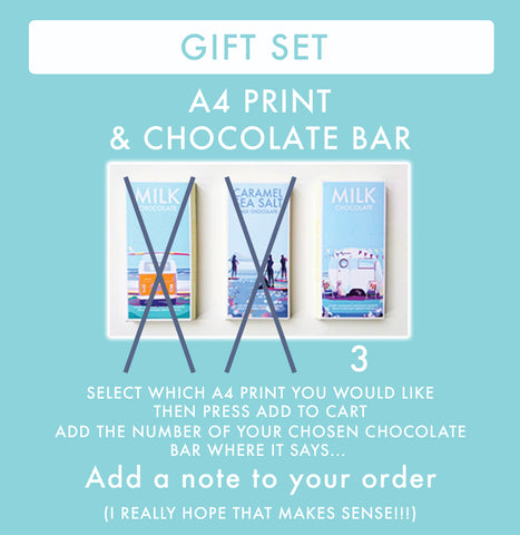 GIFT SET (Calendar or A4 print with a Chocolate Bar)