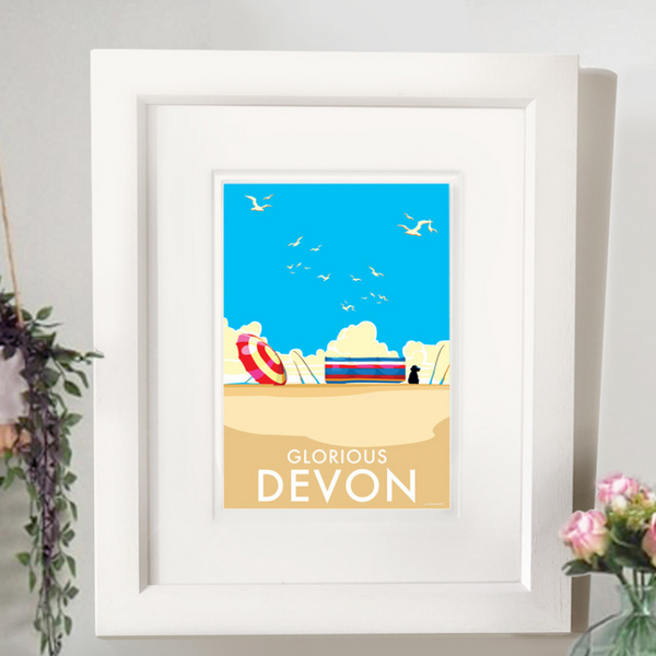 Glorious Devon travel poster and seaside print by Becky Bettesworth