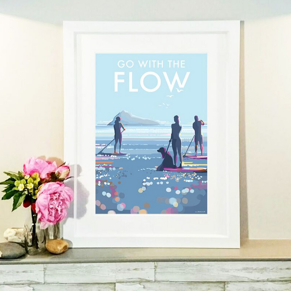 Go With The Flow Paddleboard vintage style retro quote poster by Becky Bettesworth