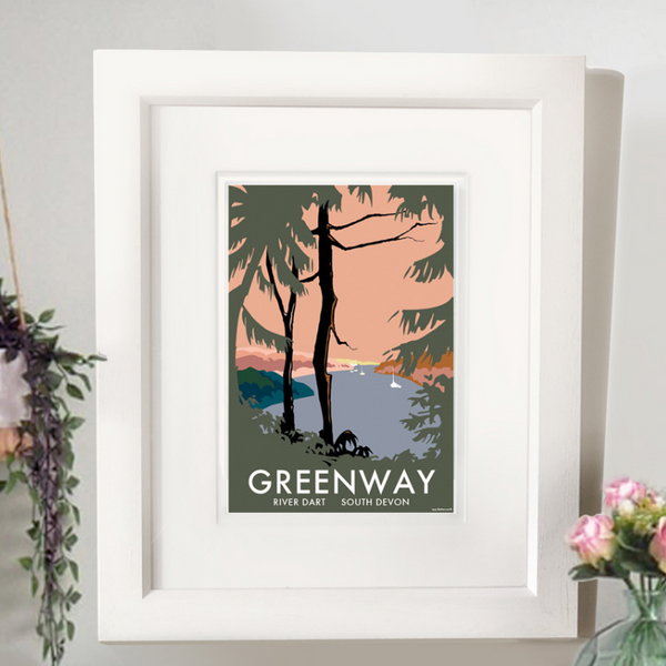 Greenway & River Dart (Trees) travel poster and seaside print by Becky Bettesworth