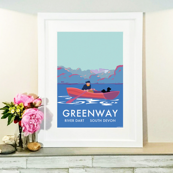 Greenway River Dart (Fishing Boat) travel poster and seaside print by Becky Bettesworth