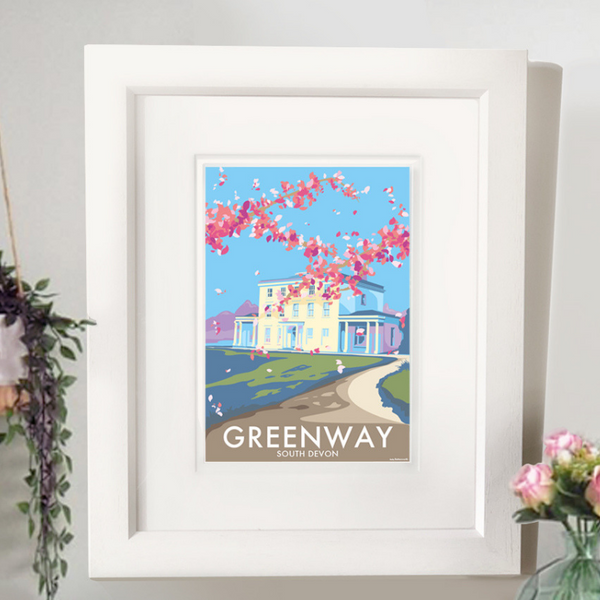 Greenway House travel poster and seaside print by Becky Bettesworth