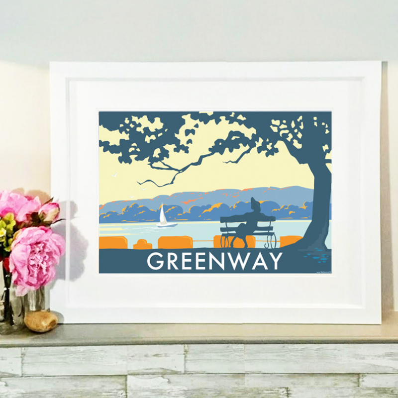 Greenway Landscape travel poster and seaside print by Becky Bettesworth