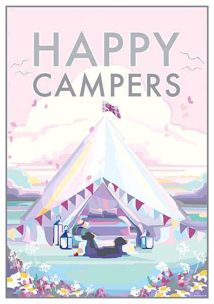 Happy Campers vintage style, retro quote poster and print by Becky Bettesworth