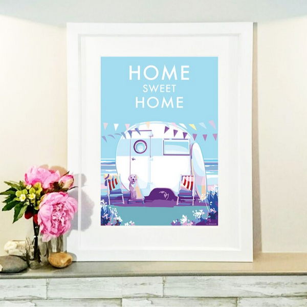 Home Sweet Home vintage style retro quote poster by Becky Bettesworth