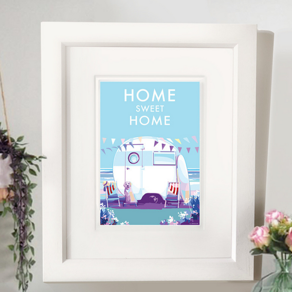 Home Sweet Home vintage style, retro quote poster and print by Becky Bettesworth