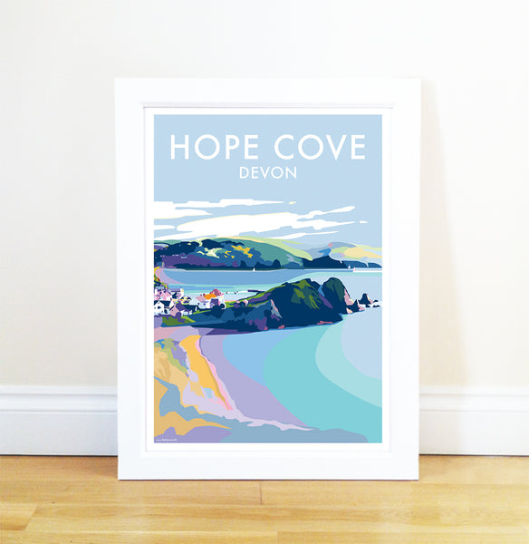Hope Cove travel poster and seaside print by Becky Bettesworth - BeckyBettesworth - 1