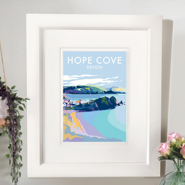 Hope Cove travel poster and seaside print by Becky Bettesworth